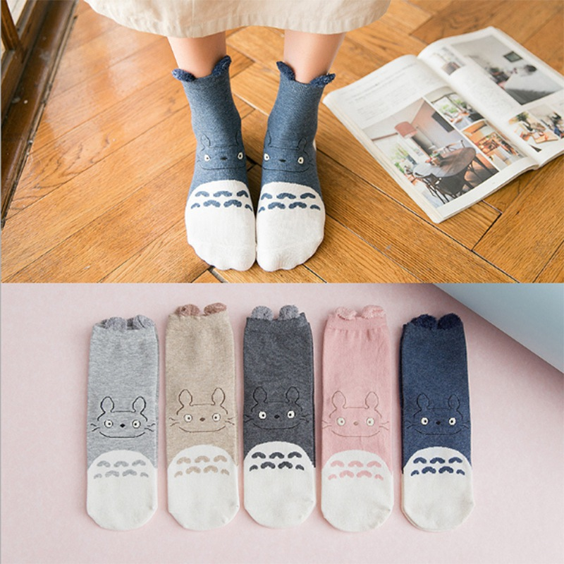 1 Pair Cartoon Cute Short Socks Girl Cotton Funny Totoro Patterned Sock Women Art Breathable Harajuku Kawaii Socks PD0140