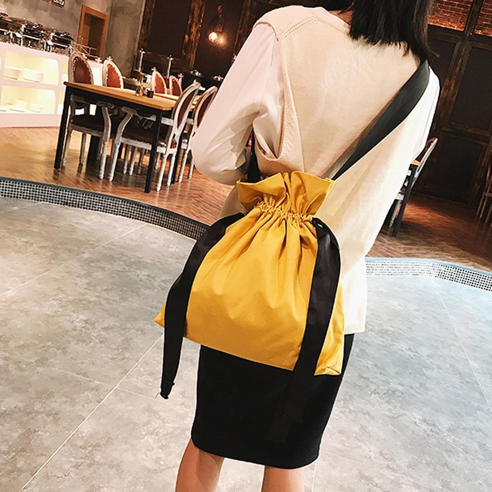 Soild Drawstring Package Bags Women Fashion Solid Canvas Backpacks Shopping Travel Drawstring School Gym Bag Softback Printing