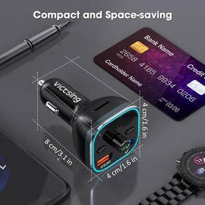 Image 4 - VicTsing H37 Bluetooth FM Transmitter QC3.0 Quick Charge Hi Fi Wireless Radio Adapter with RGB Light Hands free & U Disk/TF Card