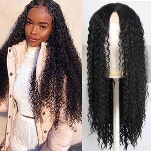 13x4 cabelo solto perucas sintéticas do laço da parte dianteira do laço peruca resistente ao calor do uso diário da fibra