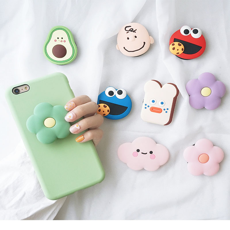 Universal 3D Socket  Mobile Phone Stretch Bracket Cartoon Air Bag Phone Expanding Phone Stand Finger Car Phone Holder For Huawei