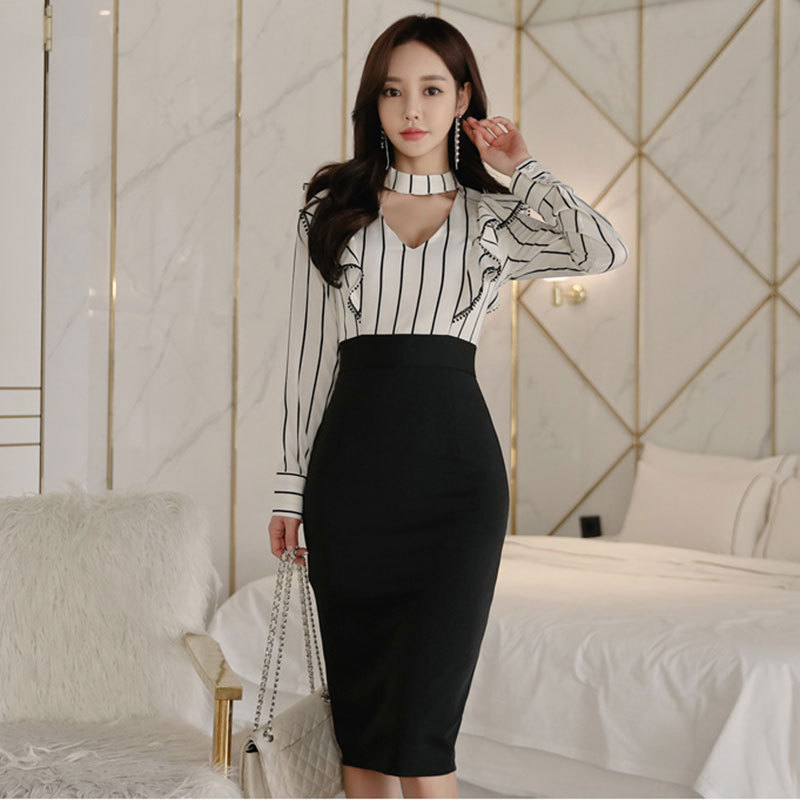 WOMEN'S Dress 2019 New Style Debutante Fashion Stripes Joint Sheath Mid-length Dress