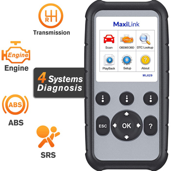 Autel MaxiLink ML629 Enhanced CAN OBD2 Scanner with ABS SRS Transmission Engine Diagnosis Auto VIN Scan Tool Check Engine Light