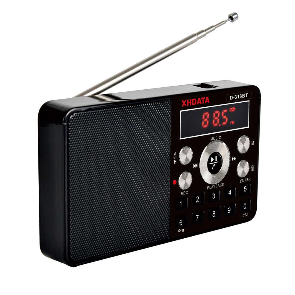 Xhdata D-318BTミニmp3 プレーヤーステレオラジオfmポータブルスクリーンサポートすることができ記録MP3 繰り返しスピーカー機能tfカード