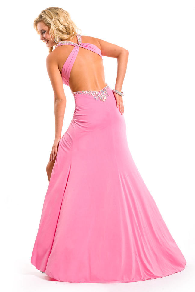 Free Shipping 2014 Sexy New Design V Neck Sexy Crystal Vestidos Formales Pink Long Open Back Party Prom Gown Graduation Dresses