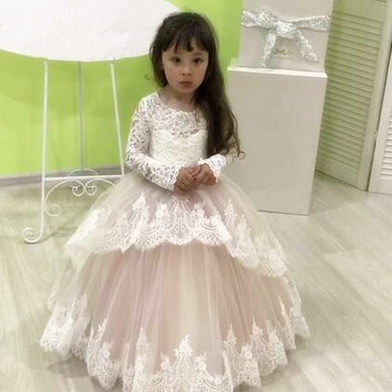 Lace Flower Girl Dresses For Weddings Long Sleeve Princess Appliqued Lace Bow Kids First Communion Dresses Girl Party Gown