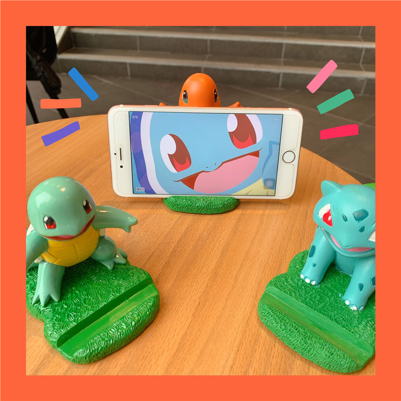 High Quality Cute Cartoon Pokemon Squirtle Charmander Bulbasaur Garage Kit Universal Desktop Stand Mobile Phone Holder Support