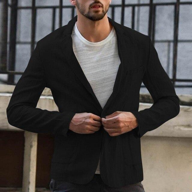 Деловой повседневный мужской блейзер, льняная куртка, облегающее пальто, верхняя одежда, однобортная Мужская куртка, пальто высокого качества 3