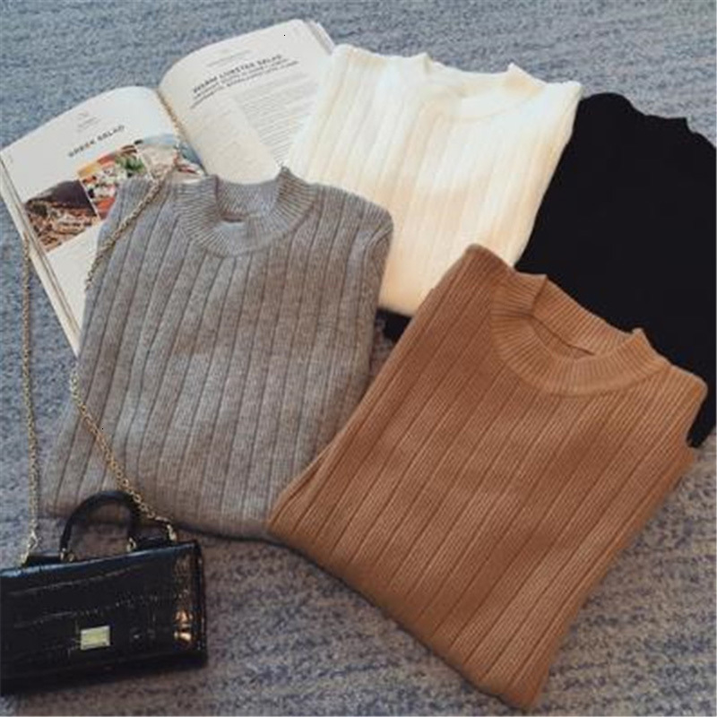 Autumn Winter Women Ladies Long Sleeve O Neck Slim Fitting Knitted Short Sweater Top Femme Korean Pull Tight Shirts