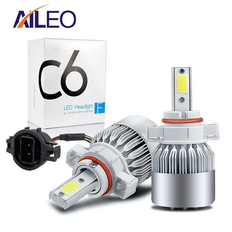 AILEO de alta potencia 2 uds PS24W 5202 h16 (UE) 2504, 5201, 5301, 5202 PS19W LED bombillas de luz antiniebla extremadamente brillante 50W COB Chipset 6000K