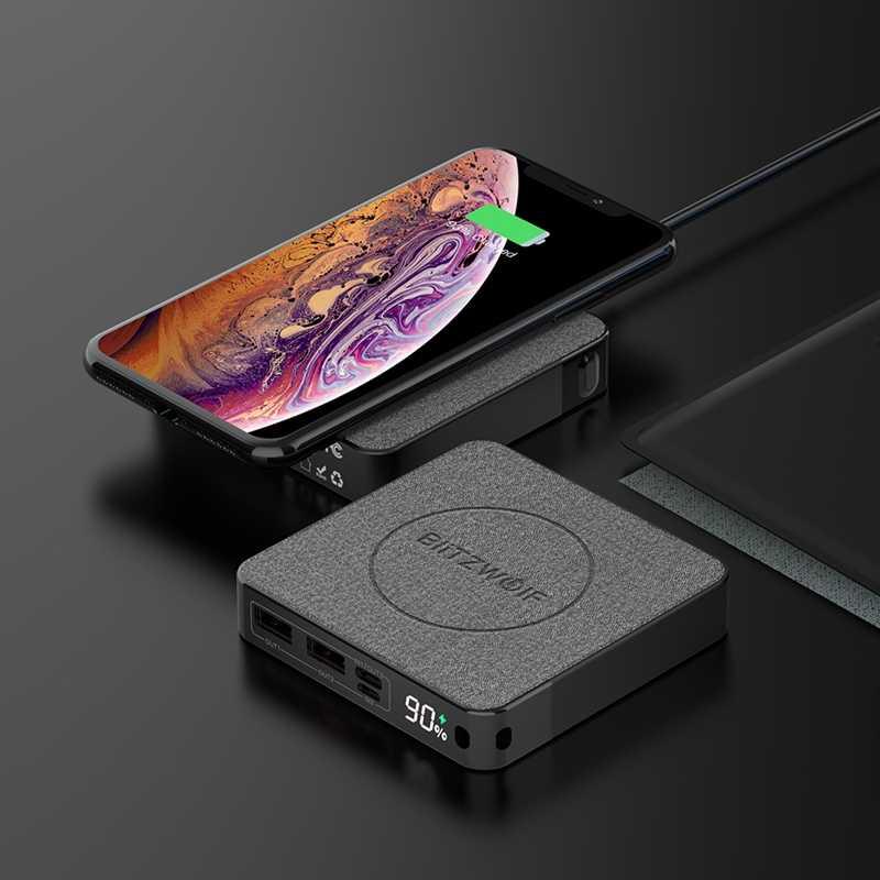 BlitzWolf affichage officiel BW-P13 LED 10000mAh batterie externe QC3.0 PD3.0 18W + 15W chargeur sans fil Surface en tissu multicouche