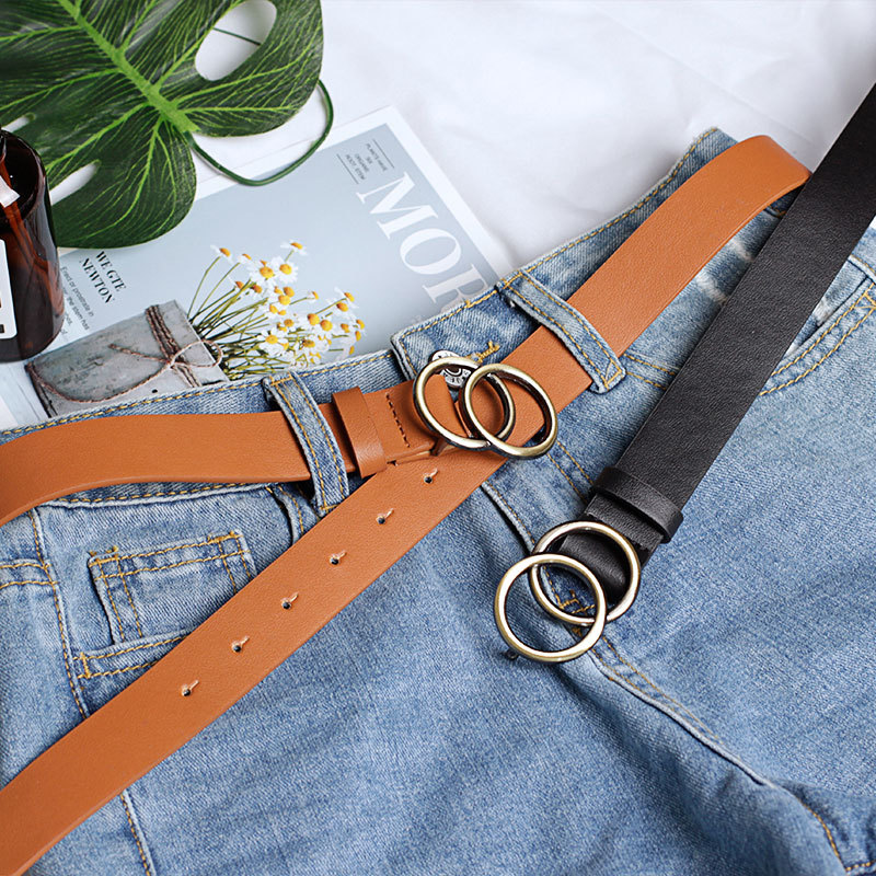 Fashion Faux Leather Double Ring Buckle Soft Vintage Decorative Casual Tighten All-Match Lightweight Long Women Belt Solid Holes