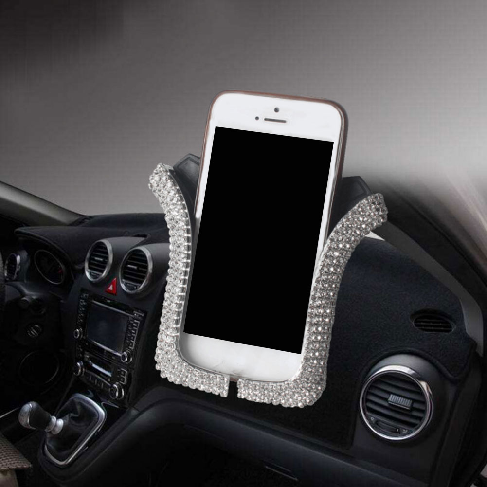 Universal Air Vent Mount U Shape Anti slip Rhinestone Car Phone Stand Holder Car Phone Holder 360 Degree GPS Navigation in Phone Holders Stands from Cellphones Telecommunications