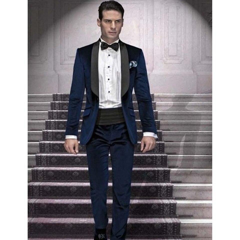 New Men's Suit Smolking Noivo Terno Slim Fit Easculino Evening Suits For Men Black Lapel Navy Blue Men Suit Best Man (Jacket+Pan