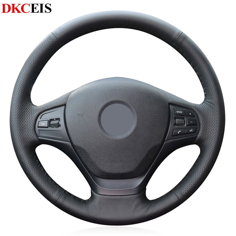 DIY Hand-stitched Black Soft Artificial PU Leather Car Steering Wheel Cover for BMW F30 328i 316i 320i