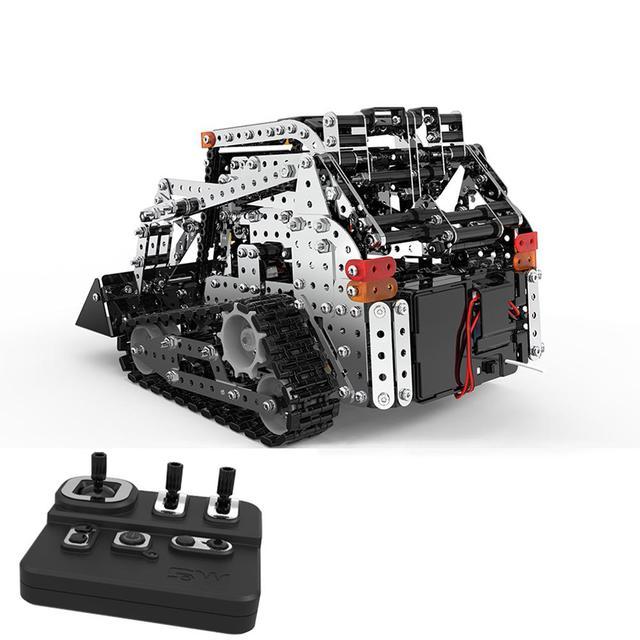 Rctown 1178 pcs 2.4g 10ch rc 추적 포크 리프트 diy 스테인레스 스틸 조립 차량 금속 rc 자동차 모델