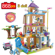 New 868pcs Girls Friends House Compatible with Legoinglys Building Blocks with Luminous Stack Bricks Kids Toys for Children Gift