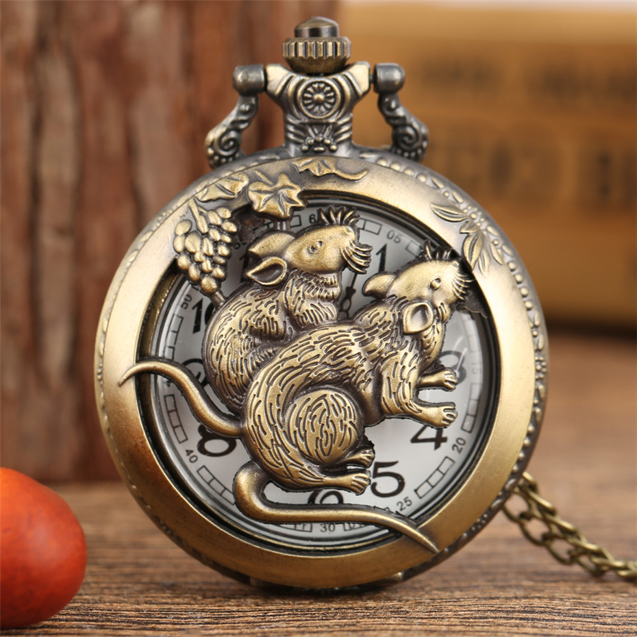 Bronze Chinese Zodiac Rat Design Hollow Hunter Quartz Pocket Watch Necklace/Pocket Chain Antique Clock Gifts For Men Women