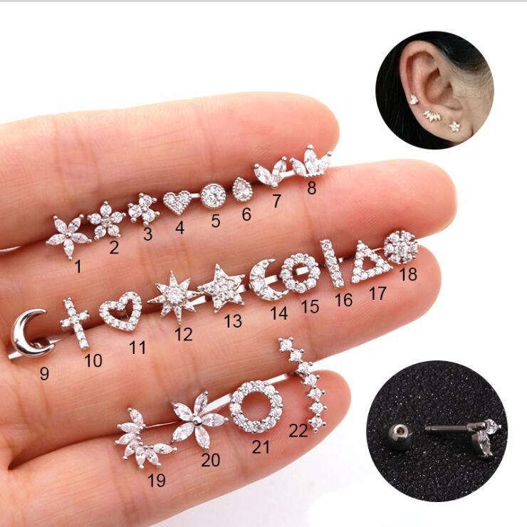 Imixlot Gold And Silver Color Cz Cartilage Stud Moon Star Heart Cross Flower Crown Helix Piercing Tragus Stud Conch Earring