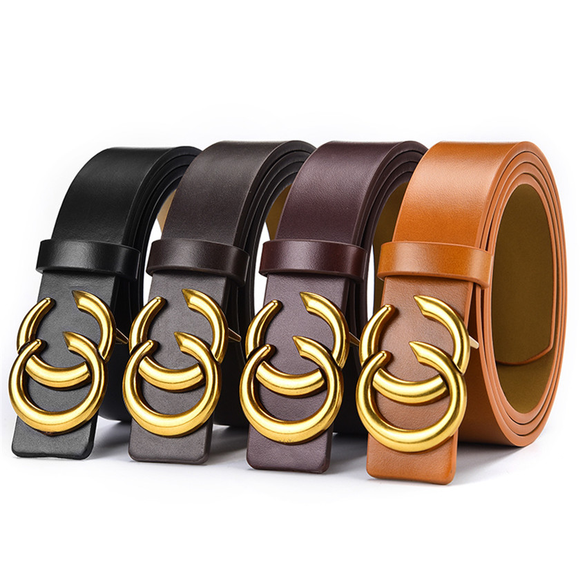 Fashion Designer Belts For Women Men Luxury Leather Waist Belt For Jeans Dress Pants With Gold Double C Logo Flip Top Buckle
