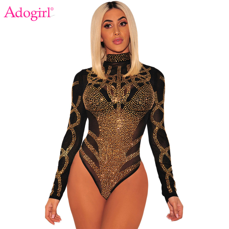 Adogirl Rhinestone Faux Bustier Sheer Mesh Long Sleeves Bodysuit Mock Neck Long Sleeve Diamonds Romper Fashion Sexy Top Jumpsuit