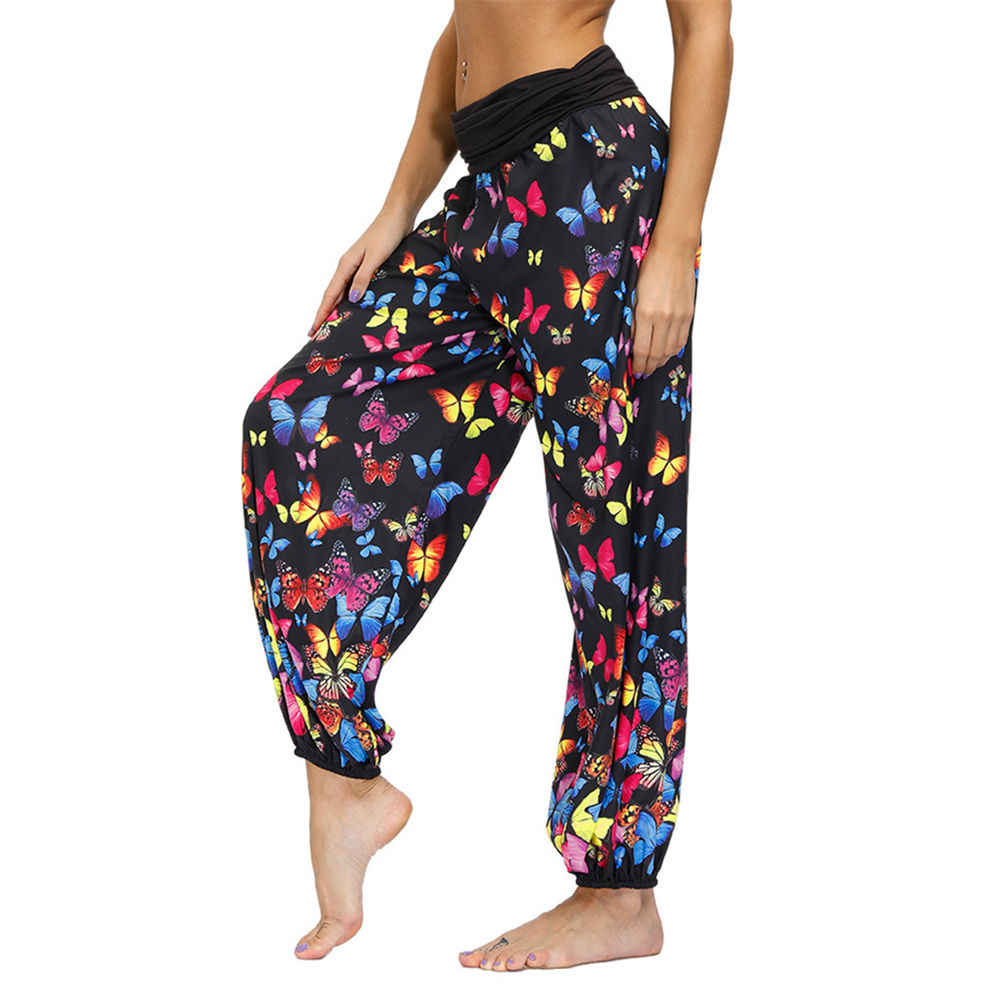 Sarouel Pantalones Haren Bohemios Para Mujer Pantalon Apilado De Cintura Alta Estampado De Mariposa Para Playa Fiesta Fitness Verano Pantalones Y Pantalones Capri Aliexpress