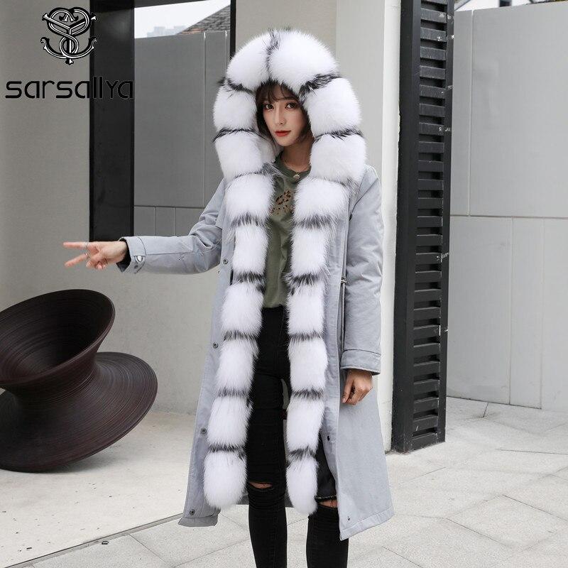 Fourrure de renard Parka capuche hiver femmes manteaux Parka longue mode réel manteau de fourrure Parka pour dames chaud épais manteau en vrac 2019 grande taille