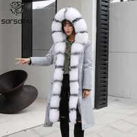 Parka con capucha de piel de zorro abrigos de invierno para mujer Parka larga de moda Real Anorak con revestimiento de pelaje para damas cálido grueso abrigo suelto 2019 tamaño grande