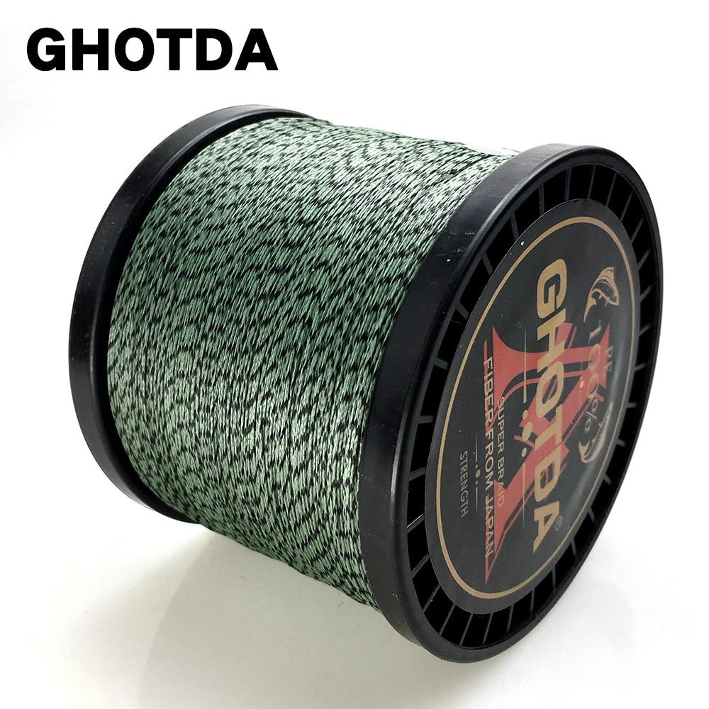 GHOTDA 8 Strands 1000M 500M 300M 100M Camouflage PE Braided Fishing Line Multifilament Saltwater Fishing Weaves