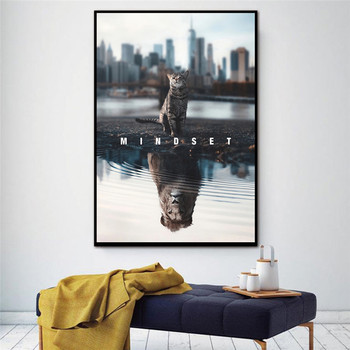 Print Text Animal Canvas Painting Mindset Is Everything Motivational Cat Lion Canvas Art Picture for Living Room Home Decor 2