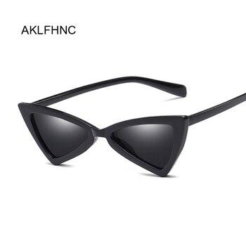 Nuevas gafas de sol de ojo de gato Retro y atractivas para mujer, pequeñas gafas de sol baratas Vintage, triangulo blanco y negro, Uv400 para mujer