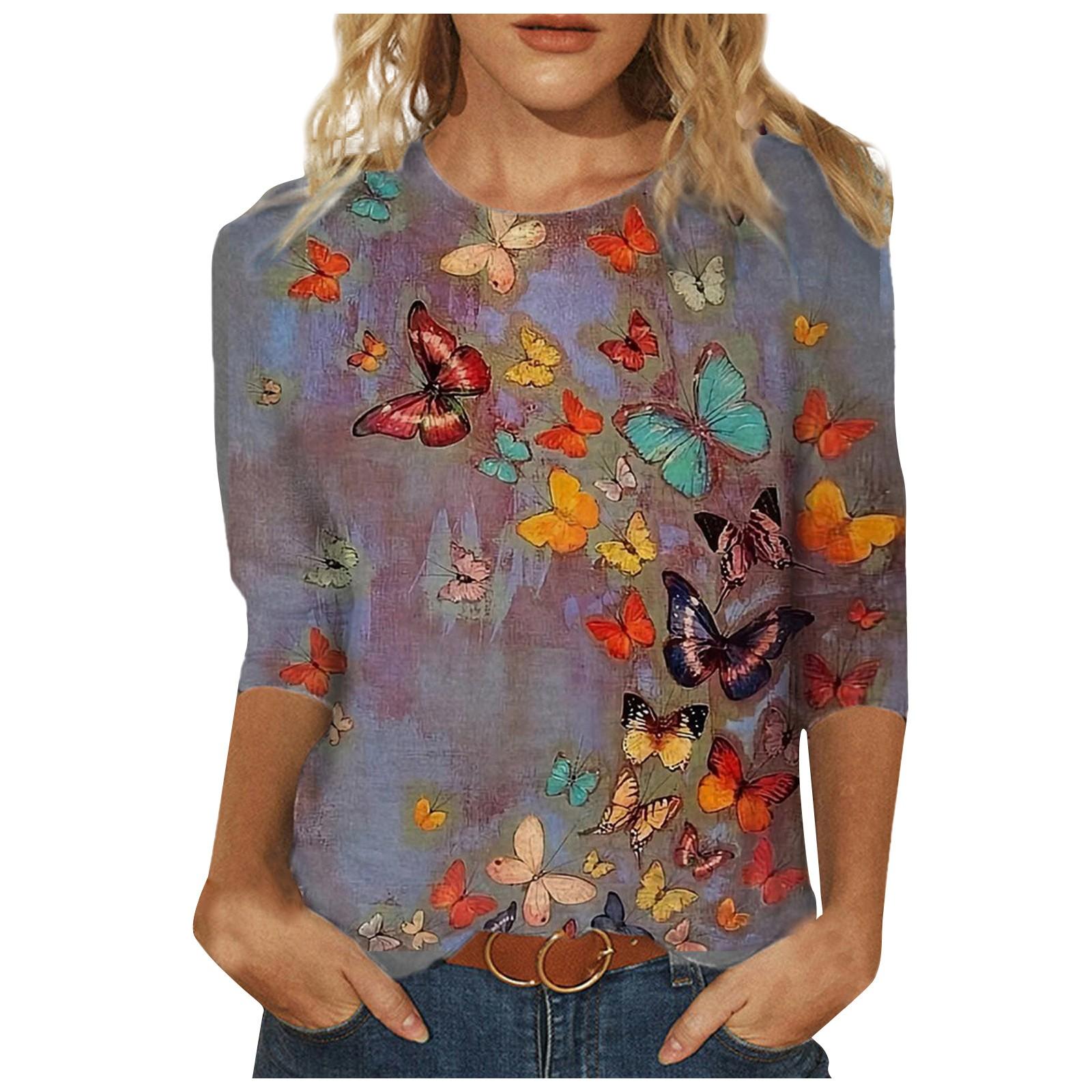 4# Women's oversize shirt Spring Printed Mid length sleeves Blouses Crew Neck harajuku Tee Tops Blouses Tupper Garment топ