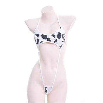 Cute Lingerie Milk Cow Print Women Sexy Set Erotic One Piece Halter Neck Backless Strappy Bikini Sex Cosplay Costumes