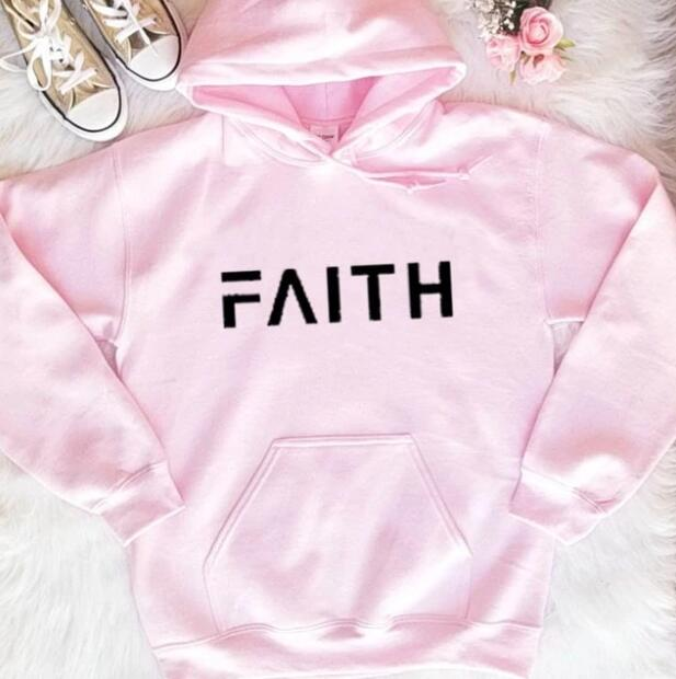 Faith Unisex Pullover Casual Long Sleeve Spring Cotton Christian Faith Hoodies Religious Pink Clothing Sweatshirt Art Jumper Top