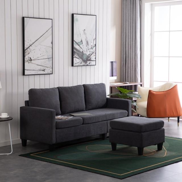 Double Chaise Longue Combination Sofa  Dark Grey Sectional Sofa 【196x68x80】cm 6