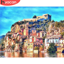 HUACAN Oil Painting By Numbers Seaside City Scenery Kits Drawing Canvas HandPainted DIY Pictures Landscape Home Decoration(China)