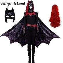 Batwoman Cosplay kostüm Suit cadılar bayramı Batwoman Catherine Hamilton kıyafet tulum Kate Kane seksi Bodysuit pelerin peruk maskesi