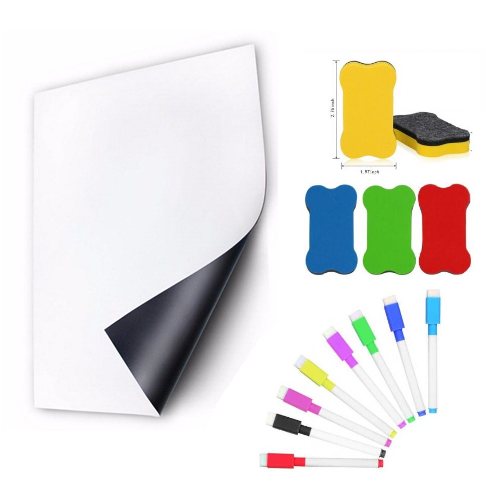 A5 Size Dry Wipe Magnetic Whiteboard Fridge Magnet Refrigerator Sticker Reminder Notepad White Board Marker Pen Soft Smartboard