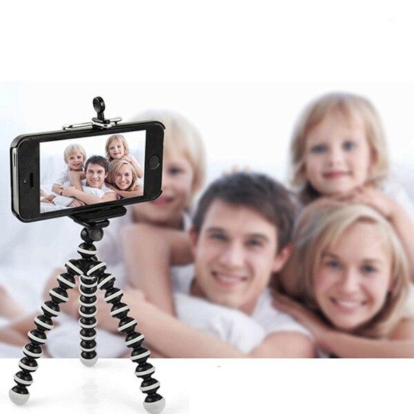 Car Phone Holder Stand Camera Tripod Clip Adjustable Monopod Selfie Stick Support Para For IPhone Mini Camera Tripod