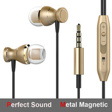 Metal Magnetic 3.5mm Heavy Bass Music In-ear with Mic Earphone for iphone Xiaomi Samsung huawei honor redmi(China)