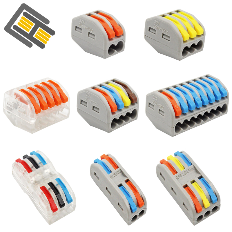 Wire Connector 30/50/100 Pieces  Mini Quick Connector Universal Compact Terminal Block Plug-in PCT-212 213 214 215