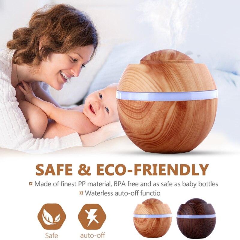Humidifier Aroma Diffuser Filter Diffuser Wood Grain 500ML LED Creative Fashion Mist Maker Colorful Light Room Decor Ultrasonic