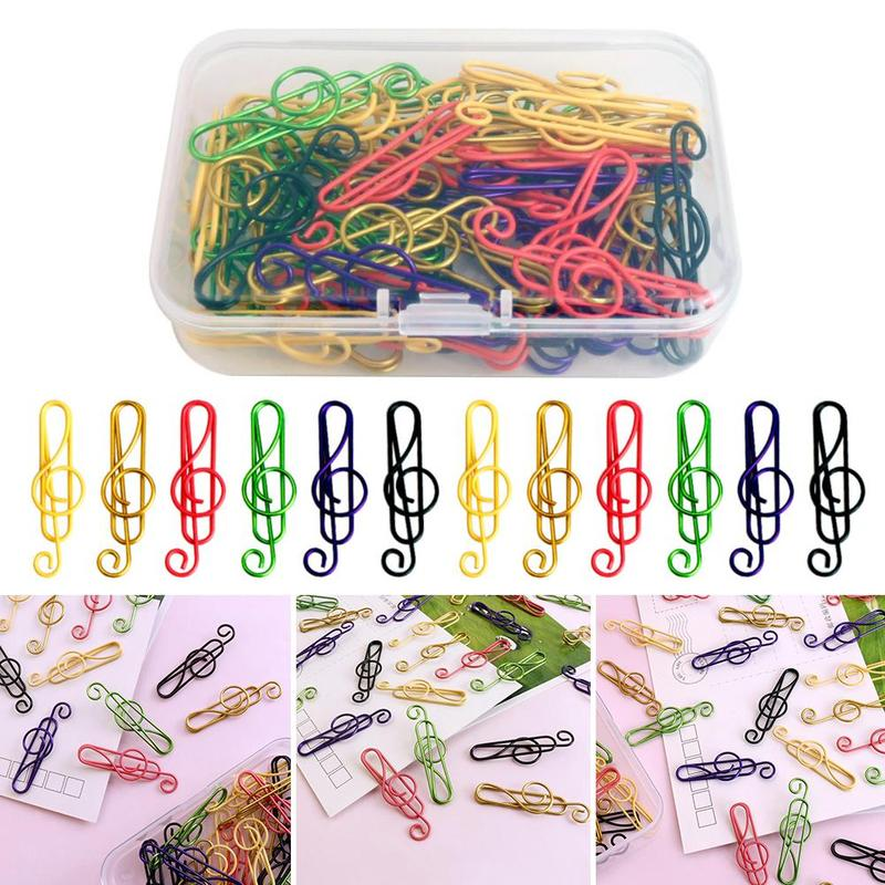 50pcs/box Creative Colorful Note Paper Clips Decorative Gold Decor For Office Music Shape Binder Clips Stationery Supplies