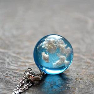 Manual Resin Ball Crescent Moon Pendant Necklace Women Blue Sky White Cloud Necklace Fashion Jewelry Gifts for Girlfriend