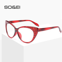 SO&EI New Fashion Retro Cat Eyes Women Glasses Frame Vintage Can Be Equipped with Myopia Red Stripes Trend Men