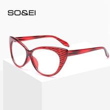 SO&EI nueva moda Retro gato ojos mujeres gafas marco Vintage puede ser equipado con miopía rayas rojas tendencia hombres gafas marco