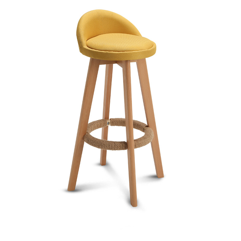 Bar Stool Nordic Modern Minimalist Home Solid Wood High     Chair Leisure Back