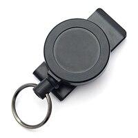 Llavero retráctil de Metal, soporte de tarjeta de identificación con cable de acero, multiherramienta, Clip de mosquetón, soporte para tarjeta de identificación, papelería
