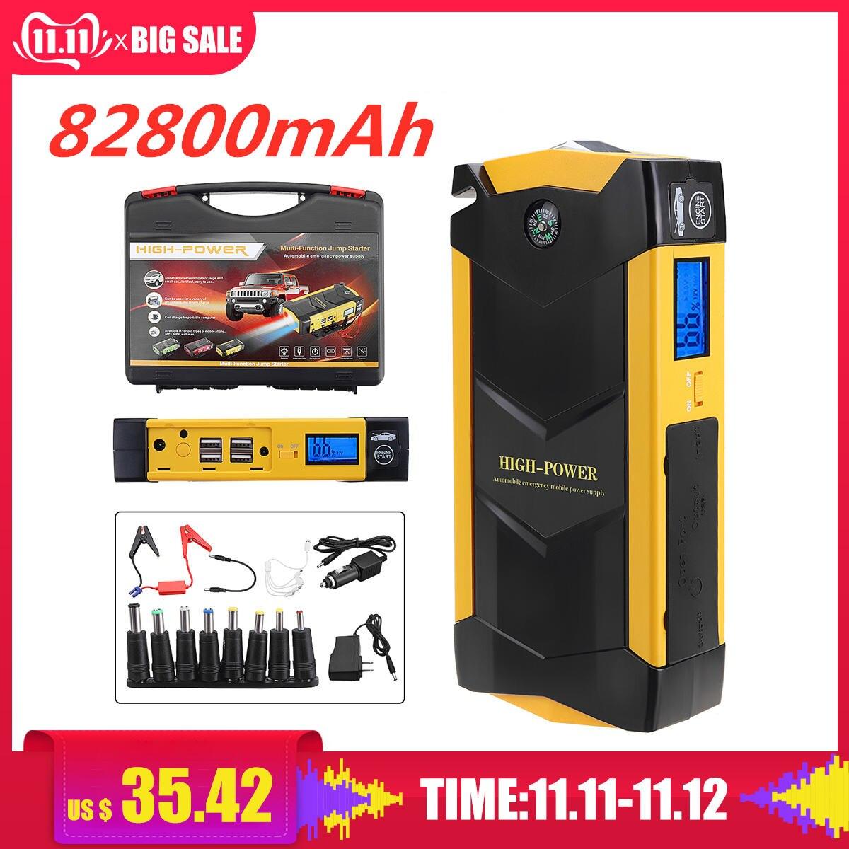 82800mAh haute puissance voiture saut démarreur 12V Portable dispositif de démarrage batterie externe chargeur de voiture pour voiture batterie Booster Buster 4 USB