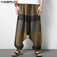 Incerun/модные клетчатые брюки для мужчин; Свободные с заниженным